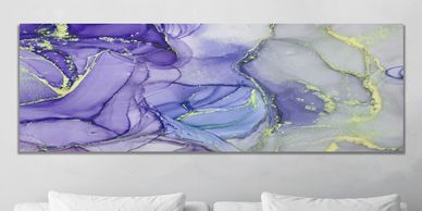 Purple and Gray Acrylic Pour Paintings on Canvas, Large Pour Painting on Canvas, Purple Abstract Art