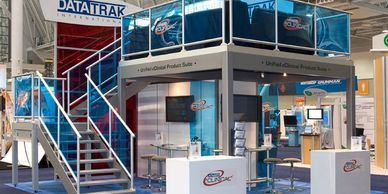 Double Decker Trade show Displays, 2 story displays Custom design and fabrication.