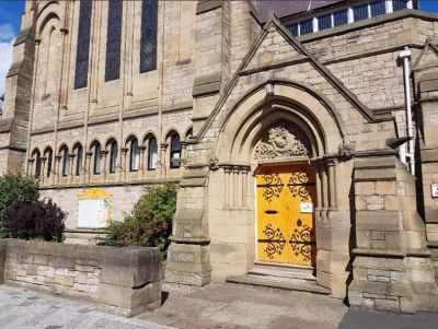 St James Church yello doors Newcastle