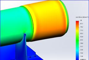 Finite element analysis results for a section of pipe