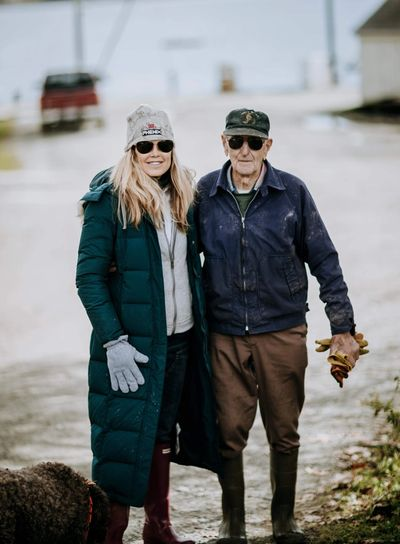 Suzanne Rico with John Olson, Maine's oldest lobsterman.