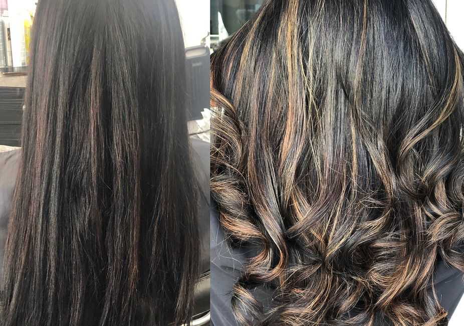 women with a before and after of a balayage done by a master stylist