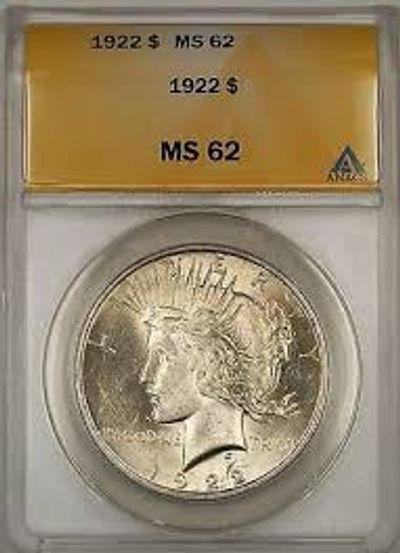 Anacs graded MS62 1922 Peace Silver Dollar, Mint State Peace Dollar, 1922 peace silver dollar BU,1922 obverse peace dollar ms
