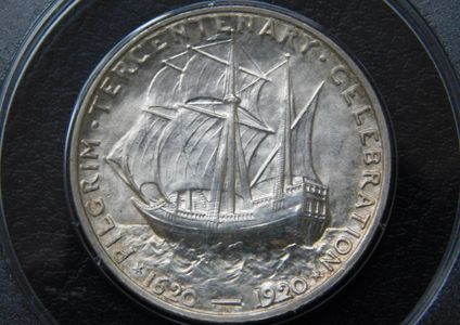 1620-1920 Pilgrim Silver Commemorative Half Dollar PCGS MS65 Reverse or back side with sailing ship