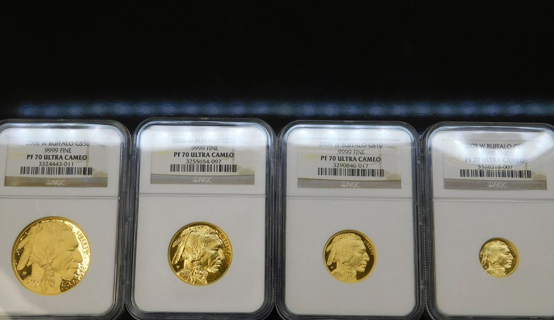 4 pc set of 2008 Gold Proof Buffalo .9999 fine gold coin NGC PF 70 UC