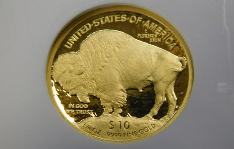$10 Gold Buffalo 2008 .9999 Fine Gold NGC PF70DCAM 1/4 oz reverse side