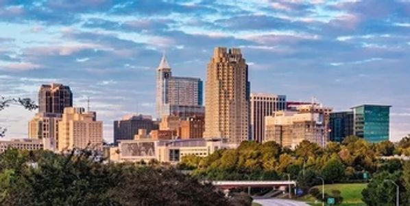 Beautiful skyline picture of downtown Raleigh NC