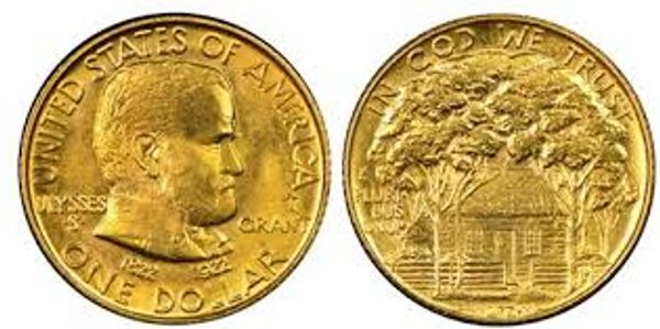 1922 Grant Uncirculated condition $1 gold commemorative coin showing both obverse & reverse
