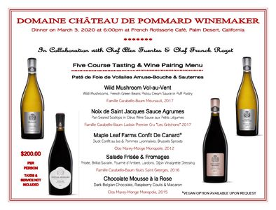Wine Pairing Dinner & Order direct from the Winery