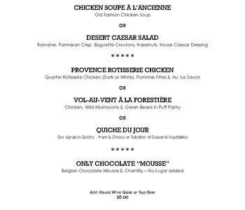 LUNCH PRIX FIXE