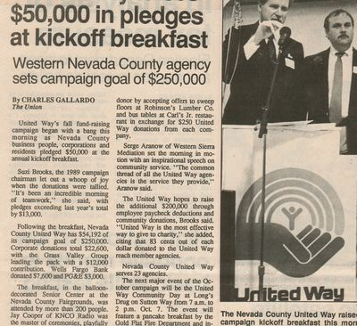 Newspaper clipping, historical, United Way of Nevada County