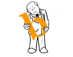 Man holding the letter b (orange) lovingly. The b stands for Build in the phrase Build Better Culture.