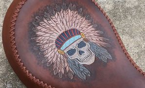 Hand tooled leather motorcycle seat