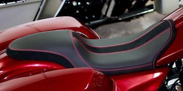 Custom leather motorcycle seat