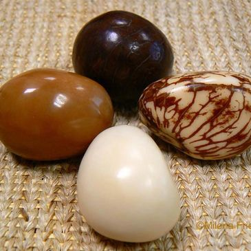 One of the sustainable materials  use in the jewelry is Tagua nut, considered the natural Ivory.