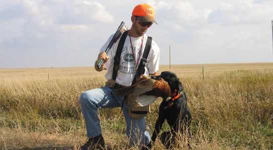 "Photo of head trainer ""Mike Musick"" & a one year old SoDak Started Dog that is For Sale."