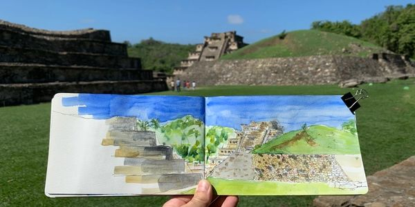 Sketch of El Tajin archaeological site, Veracruz state, Mexico