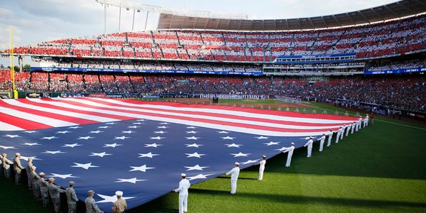 MLB All-Star Game in Kansas City. General Motors sponsored National Anthem creates an American Flag.