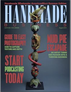 Cover of Handmade Business Magazine picturing a totem pole by Alexis Moyer