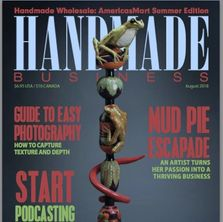 Cover of Handmade Business Magazine featuring photo of frog totem pole