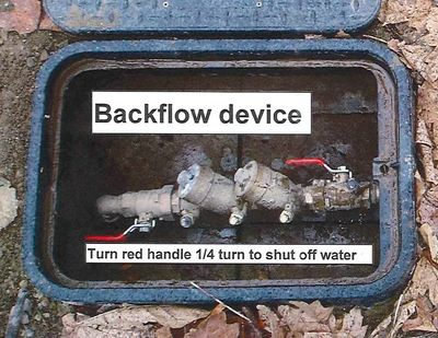 Picture of a backflow device (aka double check valve assembly)
