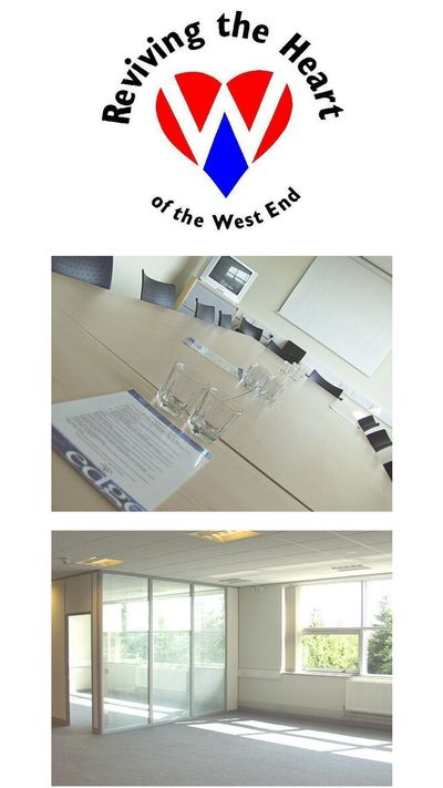 RHWE logo and John Buddle Work Village serviced offices interior, Newcastle upon Tyne, UK