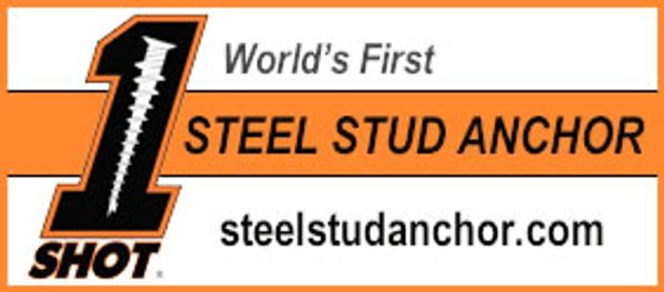 Our new 1Shot Steel Stud Anchor is a fastener designed to be used with 25-gauge steels studs.