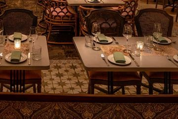 Concrete tables with inlay, tables for restaurants, restaurant decor, custom restaurant features