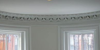 Custom Crown Molding, plaster crown molding, crown moulding, custom designed molding, repair of damaged molding, installed crown molding,