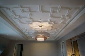 Decorative Ceiling, custom designed ceiling, plaster crown molding, ceiling restoration, ceiling installation, ceiling medallions