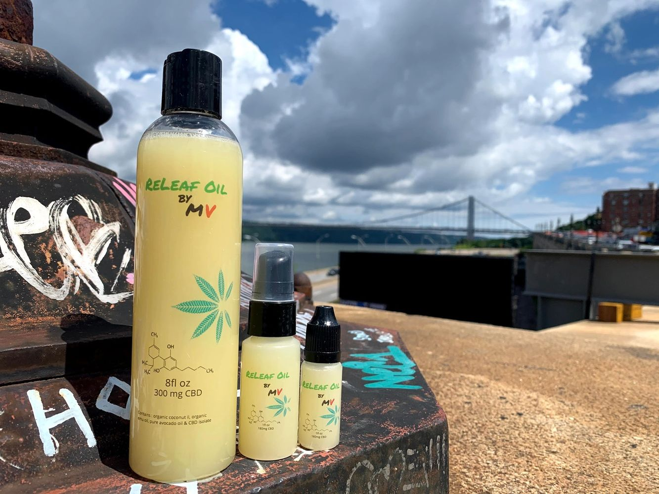 ReLeaf Oil by MV in *oz, 1oz, and 10ml.  CBD infused massage and body oil.