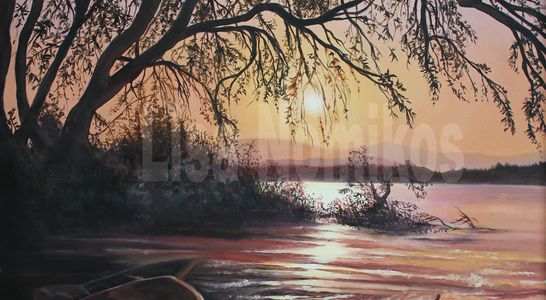 "2015 ""Nana's Vision"" oil painting landscape, water, boats, trees, sunset, lake, mountains, art"