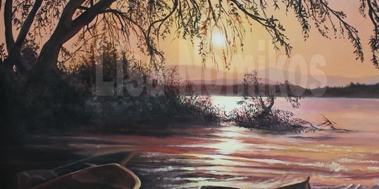 oil painting landscape, water, boats, trees, sunset, lake, mountains, art