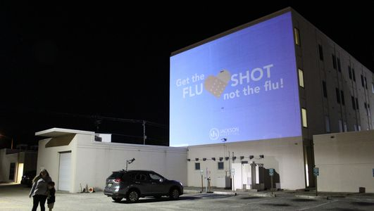Outdoor waterproof projection mapping enclosure. Digital advertising