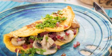 Gourmet Omelets and breakfast items, healthy, organic and fresh, local farms.