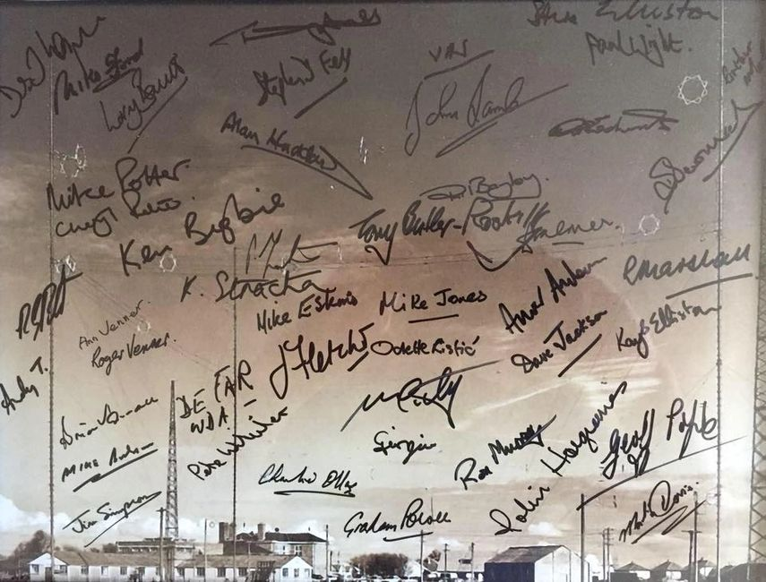 Commemorative photograph signed by all attendees at the 90th Anniversary reunion.