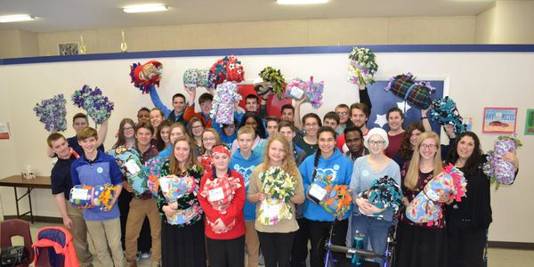 Secondary students made 25 blankets from Fleece and Thank You to be given to Michigan hospitals.