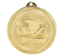 A gold medal featuring a graduation cap and a book.