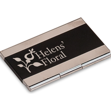 A personalized business card holder with a custom laser-engraved name.
