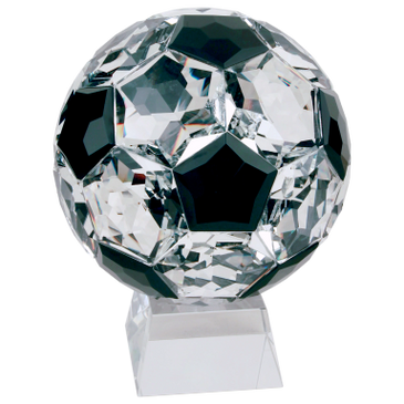 A beautiful crystal soccer ball trophy.