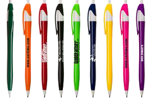 A set of colorful pens that are ready to be personalized with a business name and logo.
