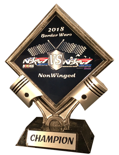 "A piston trophy with race car insignia on it. It says, ""2018 Border Wars - NonWinged Champion""."