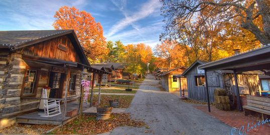 RC Livesay photograph of Har-Ber Village's Main Street in the fall.