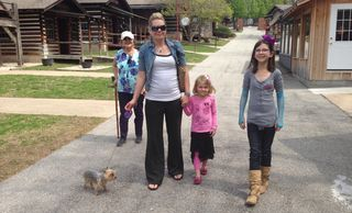 The family visits Har-Ber Village—including the dog!