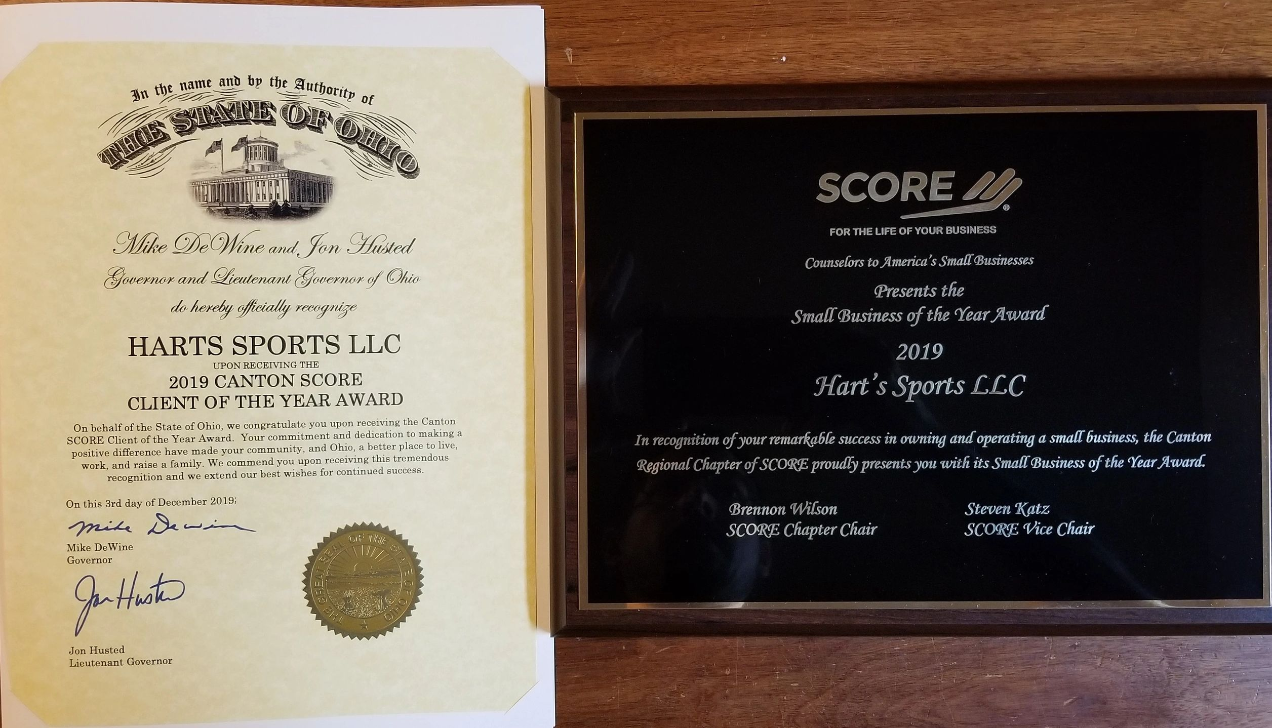 SCORE Small business of the year harts sports winner of 2019 small business