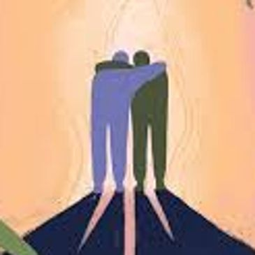 drawing of two people supporting one another with arms around each other's shoulders