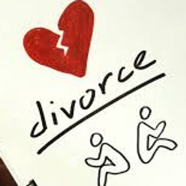 "drawing to two stick figures with backs to each other, a torn heart and the word ""divorce"""