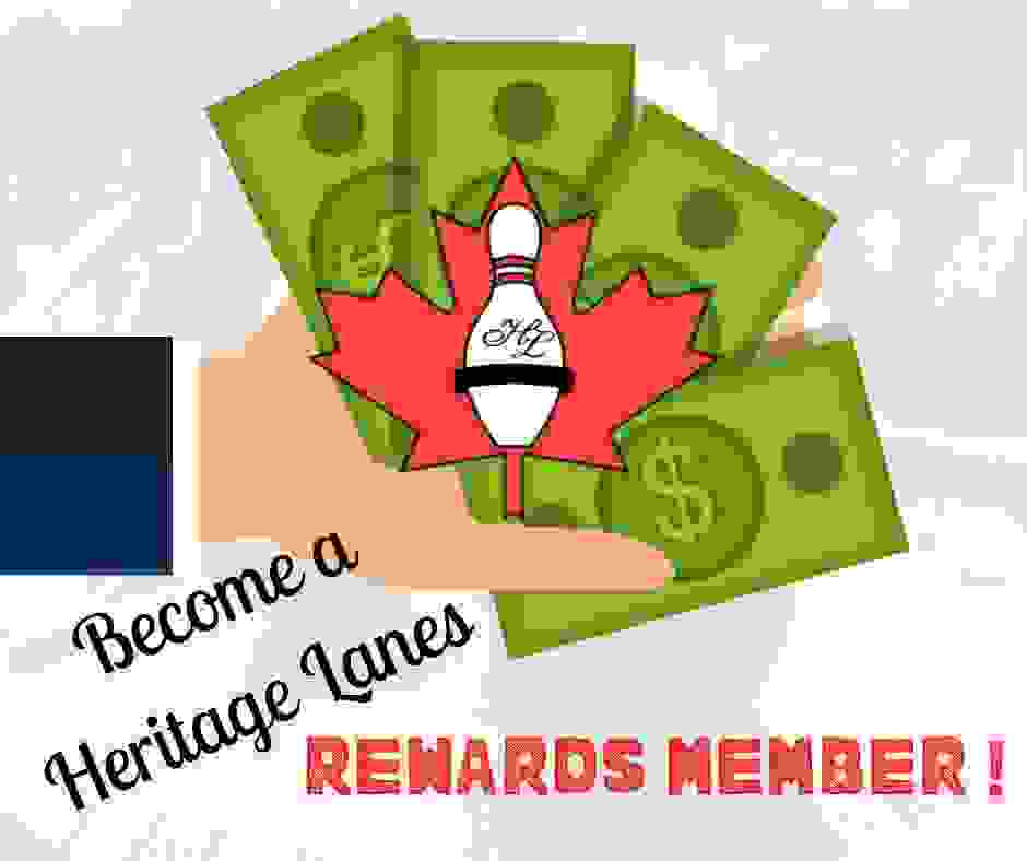 Cartoon hand holding cartoon money with the Heritage Lanes logo