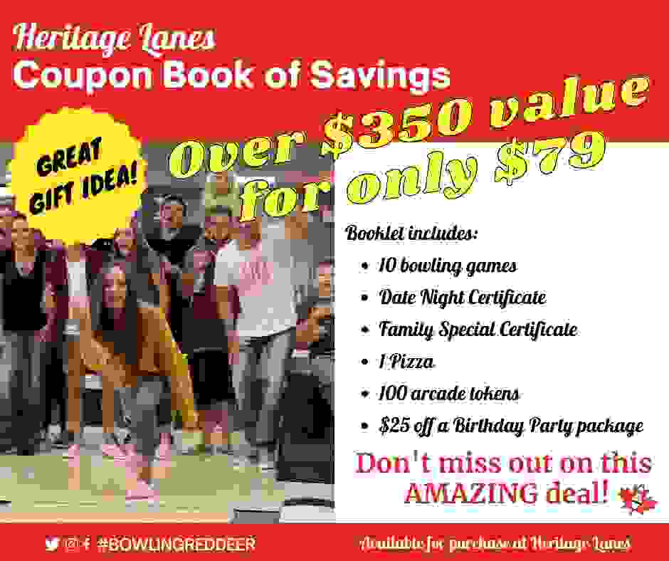 Advertisement for the Heritage Lanes Book of Savings