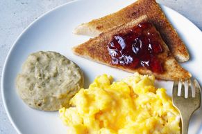 Purée sausage patty with shaped purée bread grilled toast and eggs. IDDSI